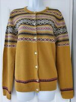 Womens Country Rose Mustard Fairisle 50s Vintage Landgirl Style Knit Cardigan L.