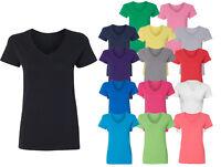 Women's V-neck Premium Basic T-shirt Extra Soft lightweight Gym Sizes S - 3XL