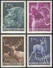 Austria 1959 jabalí/Ciervo/Urogallo/animales/aves/cerdos/caza 4v Set (n41418)