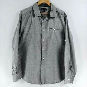 Jeanswest Men's Size Large Grey Cotton Long Sleeve Button Up Collared Shirt Long