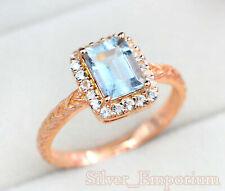 14K Solid Rose Gold Plating Natural Aquamarine Gemstone Anniversary Ring For Her