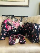 Vera Bradley Flamingo Beach Towel Bag Wristlet Sandal M Cosmetic Umbrella Set