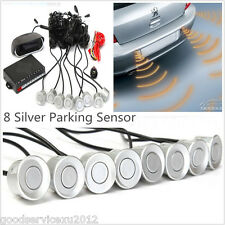 8in1 Parking Sensors Silver Car Reverse Backup Radar Alarming System LCD Screen