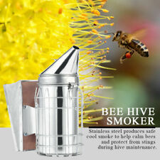 "New 11""Bee Hive Smoker Stainless Steel With Heat Shield Beekeeping Equipment"
