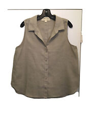 Cloth & Stone, size Large, women's linen sleeveless button-back blouse / top
