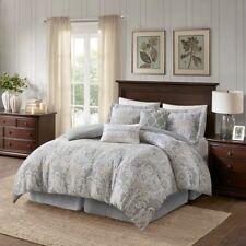 Queen Size Hallie 6 Piece Cotton Comforter Set Cotton Grey Classic Harbor House
