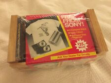 SEALED Vintage 1991 Sony Compact Disc Wooden CD Crate storage w/ T-shirt & 2 CDs