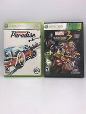 XBOX 360 Lot 2 Games BURNOUT PARADISE and MARVEL vs CAPCOM 3 Video Games