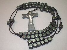 Rosary Necklace Square BLACK Bead Wood Cross Silver Jesus Classic! Great Gift!