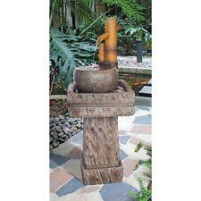 SS12696 - Bamboo Wellspring Pedestal Garden Fountain w/Pump & Light Kit!