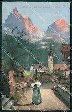 Bolzano Castelrotto Siusi allo Sciliar Costumi PIEGHINE cartolina QT3136