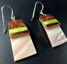 Kewa Artisan CONNIE CORIZ Stone Inlay EARRINGS Pipestone Gaspeite Lepidolite