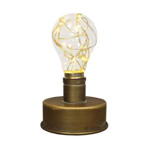 Industrial Style Bulb Table Lamp Battery Power Desk LED Light Lantern Décor Gift