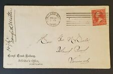 1895 Portland Maine to Island Pond Vermont Grand Trunk Railway Commercial Cover