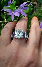Stunning White Topaz w/ Princess cut Amethyst Ring, 925, size 8