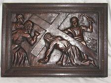 01C31 PANNEAU BOIS SCULPTE SCULPTURE BAS RELIEF CHEMIN DE CROIX CHRIST RELIGION