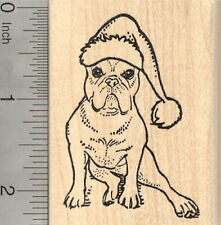 Christmas French Bulldog Rubber Stamp, Dog in Santa Hat J26602 WM