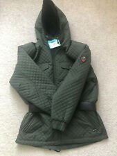 Womens Obermeyer Klosters Ski Jacket Coat Size 12 Quilted Belted Hunter Green