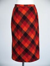 Kaliko Orange Check Skirt 12 Midi A Line Wool Blend Purple Red