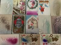 ~Lot of 13 SANTA CLAUS~ Antique~AIRBRUSHED~Embossed ~Christmas~Postcards-a617