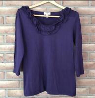Ann Taylor Loft Women's Size Medium Purple Ruffle Neck Top/Tee/Shirt-3/4 Sleeve