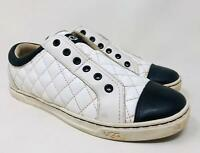 UGG Jemma Genuine Shearling Lined Quilted Sneaker Size 7 White/Black MSRP $110