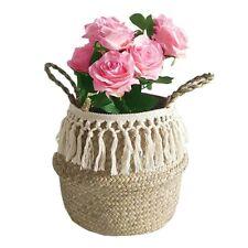 Seagrass Wicker Basket Flower Pot Folding Basket Storage Basket Home Decoration