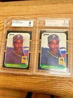 (2) x 1987 Donruss # 361 Barry Bonds RC beckett 8
