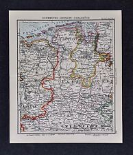 c1925 Taschen Atlas Map Germany Oldenburg Hanover Bremen Munster Groningen Emden