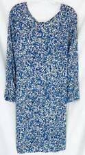 Old Navy Maternity Dress Medium 8 10 Blue Floral Shift Long Sleeve Knee New 1468