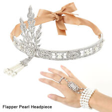 1920s Flapper Great Gatsby Headpiece Hair Accessories Headband Bracelet Ring Set