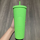 non-branded 710Ml studded straw cup matte flourescent green tumbler 24Oz