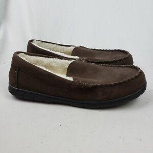 Lands' End Mens Suede Leather Moccasin Slippers Dark Mahogany