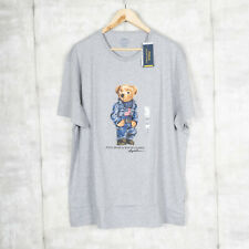 Polo Ralph Lauren Polo Bear USA Flag Short Sleeve T-shirt BIG LOGO Gray BNWT