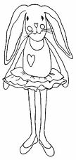 Unmounted Rubber Stamp Ballerina Bunny Rabbit - 7154