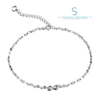 925 Sterling Silver Ladies Infinity Anklet with Cubic Zirconia Stone-Hallmarked