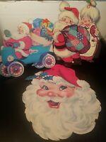 Vintage Christmas Santa Die Cut  Cardboard Double Sided Decorations Lot of 3