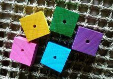 5 x Colour Square Chew Blocks 4x4x2cm - Large Pine Wood Pet Rabbit Bird Toy Part