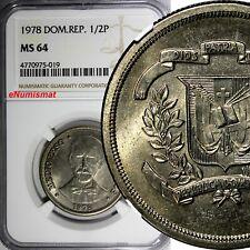 Dominican Republic Copper-Nickel 1978 1/2 Peso NGC MS64 Mintage-296,000 KM# 52