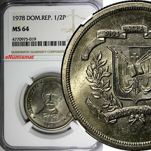 Dominican Republic Copper-Nickel 1978 1/2 Peso NGC MS64 Mintage-296,000 KM# 52