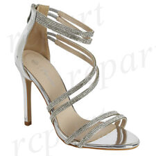 165fdfdd74c New women s shoes evening rhinestones back zipper high heel wedding prom  silver