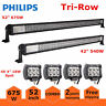 """7D Tri-Row 52"""" 675W LED Light Bar Combo & 42in 540W+ 4X 4"""" Pods Offroad 4WD Jeep"""