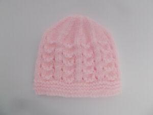 Hand Knitted Baby Hat Small Newborn Newborn Baby Hat Shimmer Pink