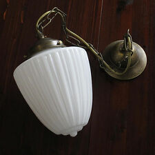 Lampe suspendue ART NOUVEAU VERRE DE Opale forme goutte blanc laiton luminaire