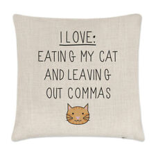 I Love Mangiare My Cat e Lasciando Fuori Virgole Lino Copricuscino Cuscino