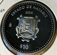 2004 Mexico 'Estado De Nayarit' $10 Silver Proof Coin