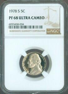 1978-S Jefferson Nickel 5c NGC PROOF PF 68 PF-68 Ultra Cameo 5¢Quality✔️