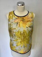 MARKS & SPENCER AUTOGRAPH YELLOW FLORAL PRINT TOP SIZE 10