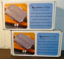 Lot of 2 Hewlett Packard JetDirect 310x Print Servers w/Adaptors & Boxes, Hp