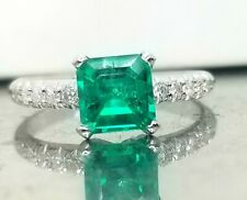 GORGEOUS 14K WHITE GOLD   RING 1.02CT. GEM COLOMBIAN GREEN EMERALD